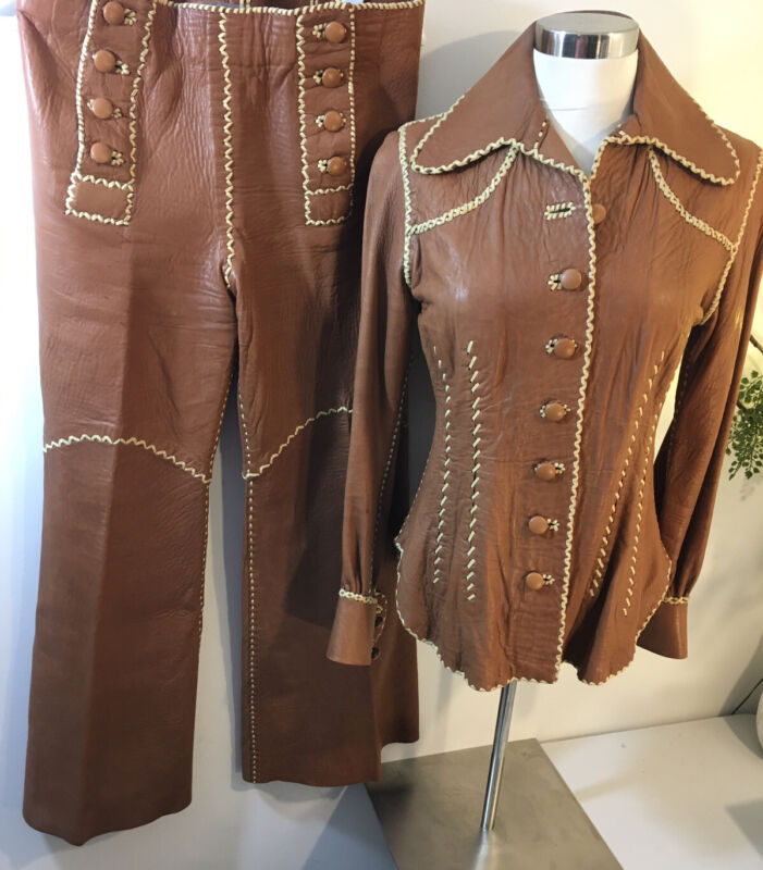 Vtg NORTH BEACH LEATHER Supple Couture 60s 70s 2pc Handmade Whipstitch Suit