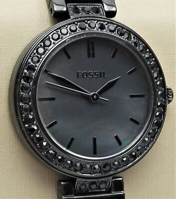 FOSSIL KARLI Watch BQ3440 Women's 34mm Black Glitz Stainless Steel $135 NEW