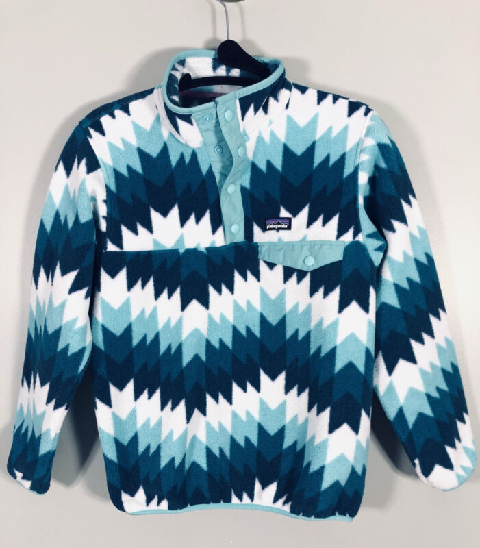 Patagonia Synchilla Fleece Jacket M T-Snap Pullover Kids Youth Chevron Teal