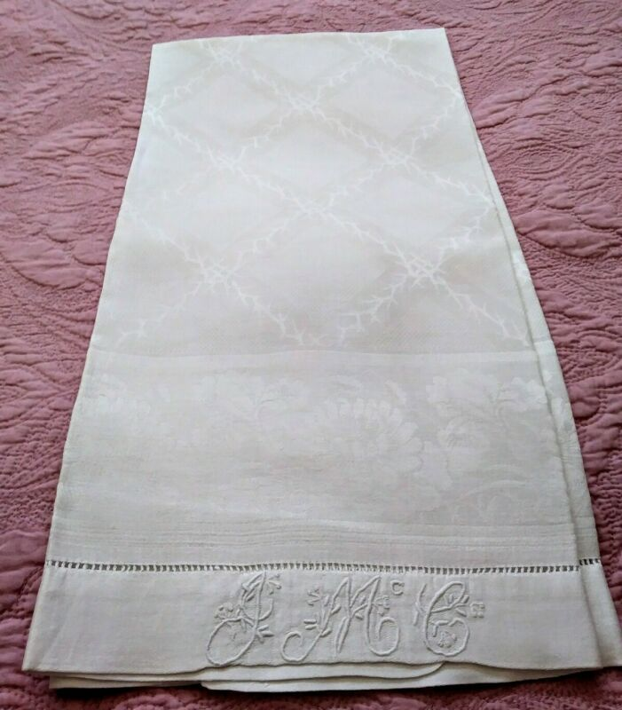"Gorgeous Heavy Damask Linen Hemstitched Show Towel Initials ""JMcG""  44""x27"" #1"