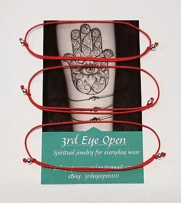 3 Red String Kabbalah Bracelets Evil Eye Protection Good Luck Hamsa Bless Gift ()