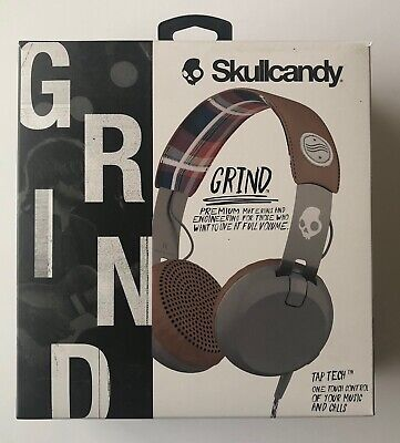 Skullcandy Grind Headphones with Tap Tech in Americana/Plaid/Gray - New