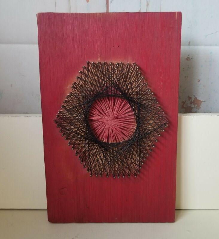 Vintage Gods Eye String Wall Art Student Art Project Retro 1970s