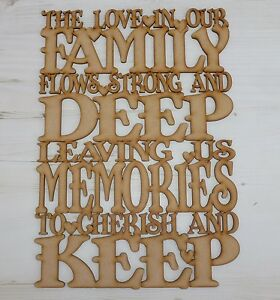 Mdf Wooden The Love In Our Family Word Sayings Door Plaque Sign Wood Wall Art