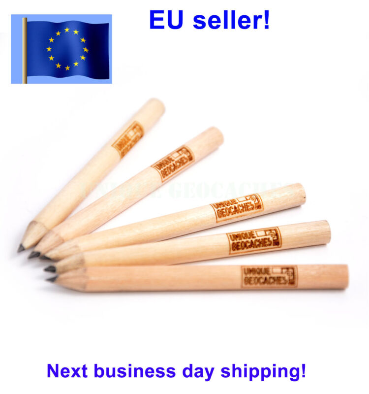 Short natural wood pencil for Geocaching, set of 5 pcs, with laser engraved logo