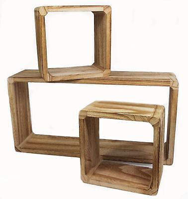 Holz Wandregal 3er Set - Wandregal + 2x Würfelregal - Hängeregal Schwebe Regal ()