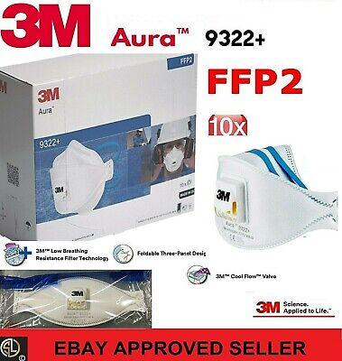 10er: 3M™ Aura™ Atemschutzmaske 9322+ FFP2 FFP 2 m. Ventil -im Original Karton