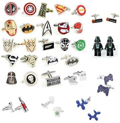 Cufflinks Novelty cuff links Pacman Beatles StarWars Dalek Batman Harry Potter