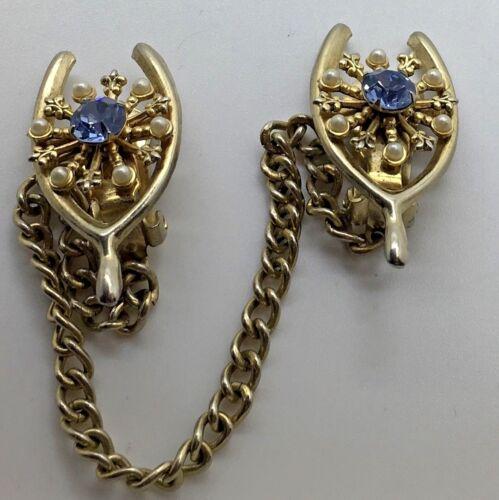 Wishbone Sweater Guard Clip Faux Seed Pearls Blue Topaz Aquamarine Glass