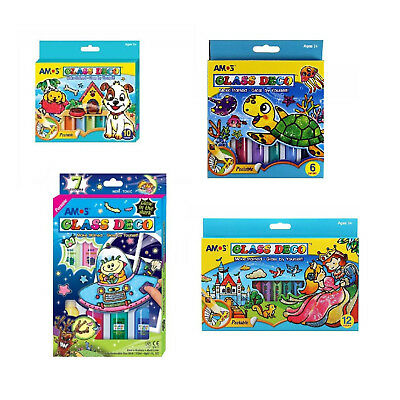 Stained Glass Window Glass Paints Kids Art Activity Pack Colouring Pads Gift Set Stained Glass Coloring Pad