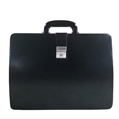 Men Genuine Leather Attache Briefcase Executive Business Handbag (Black)