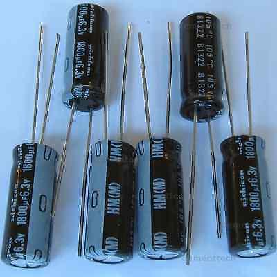 6x 1800uf 6.3v Nichicon Hm Low-esr Impedance 8mm Radial Capacitors Caps 105c