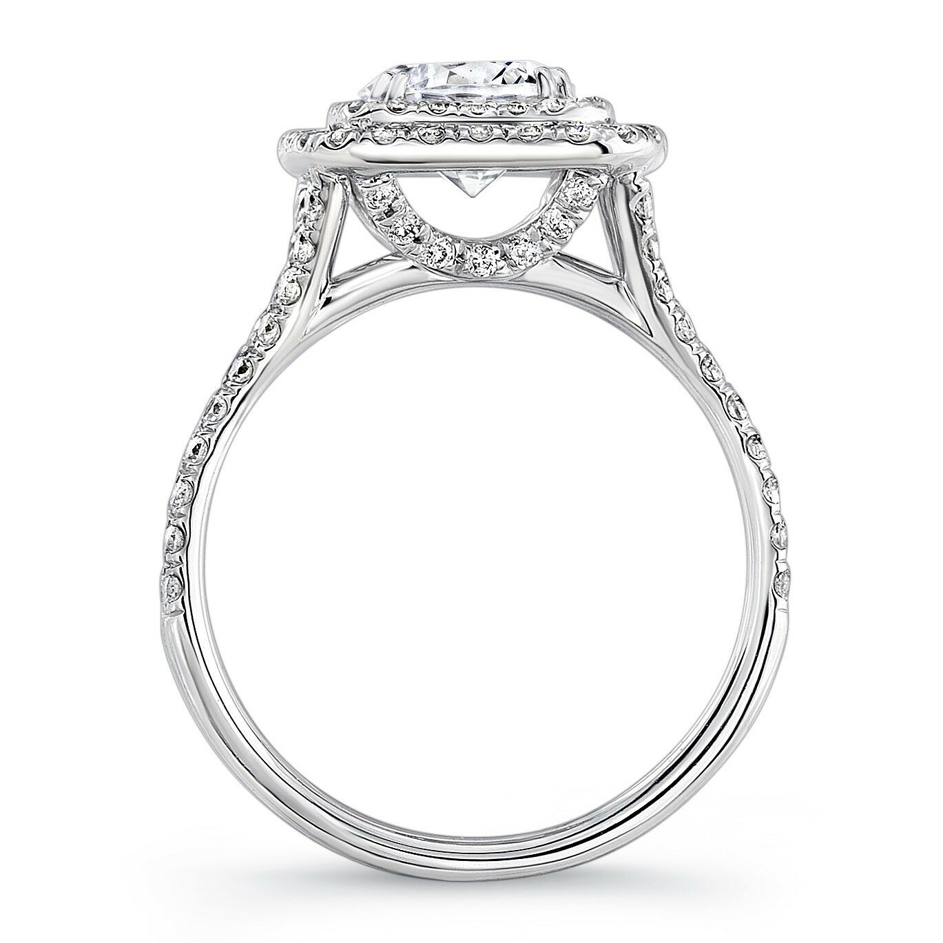 Natural 4.50 Ct. Cushion Cut Halo Split Shank Diamond Engagement Ring J, VS2 GIA 1