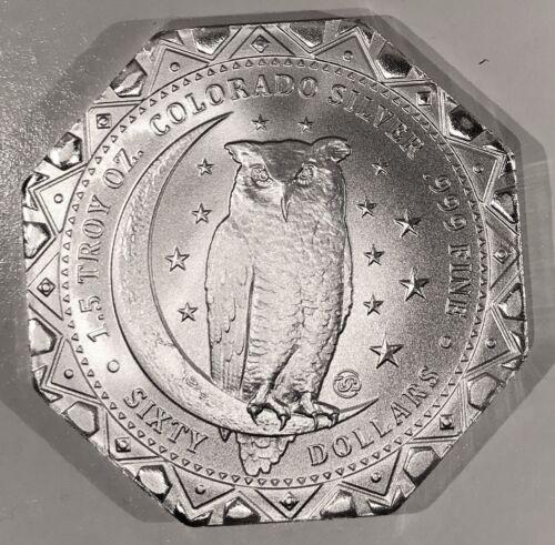 2020 Clark Gruber $60 Octagon 1.5 Oz .999 Silver Owl Daniel Carr Ships Free /2