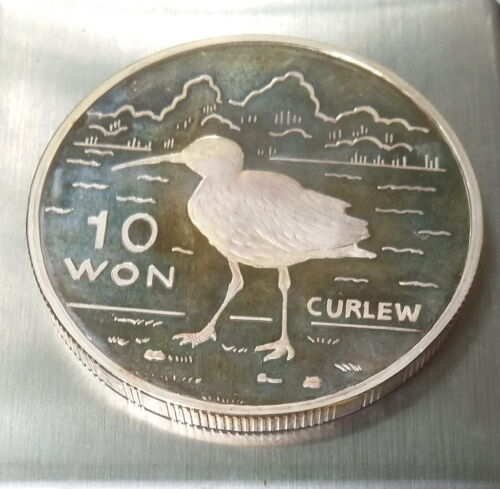10 Won 2004 Korea Silver 999, CURLEW BIRD, 1 Oz. FAUNA, Ounce, Proof, Scarce !!