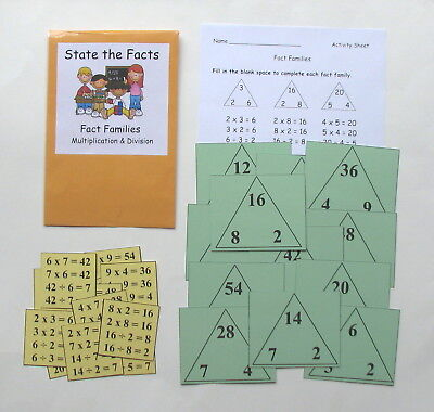 Teacher Made Math Center Resource Game Fact Families Multiplication & Division  (Fact Family Math)