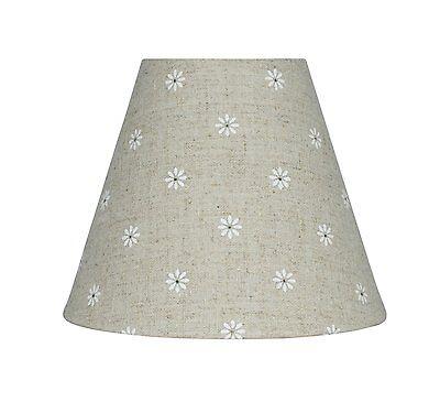 Urbanest Mini Chandelier Lamp Shade, Natural Linen w/ Daisies, 6-inch, Hardback ()