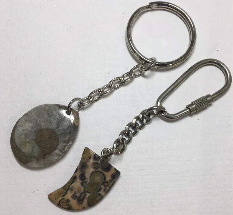 2 Rock Hounds Key Chains Fossil Ammonite, Poppy Jasper #123