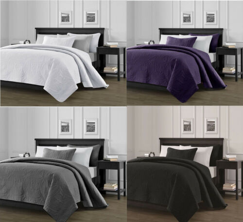 3-Piece Solid Bedspread Coverlet Pillow Case Set at Linen Plus Bedding