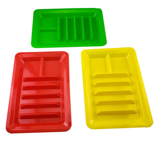Set of Three Taco Holder Stand Up Divider Plates Multi Colored Plastic Plates