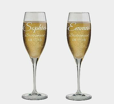 Personalized set of 2 Champagne Glass for Bridesmaid,Flutes, wedding Glasses](Bridesmaid Champagne Flutes)