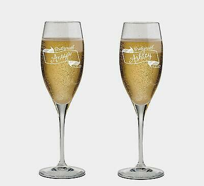 Bridesmaid Personalized set of 2 Champagne Glass,Toasting Flutes, wedding Glass](Bridesmaid Champagne Flutes)