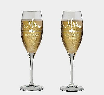 Mr. And Mrs. Personalized set of 2 Champagne Glass,Toasting Flutes, wedding Gift](Wedding Toast Glasses)