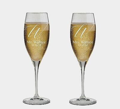 Last name engraved Personalized set of 2 Champagne Glass, Champagne Flutes,Cute