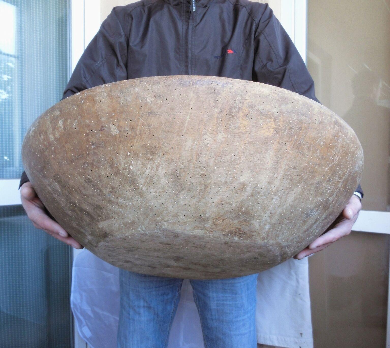 23+ oversized heavy antique primitive Wooden DOUGH BOWL /giant plate ...