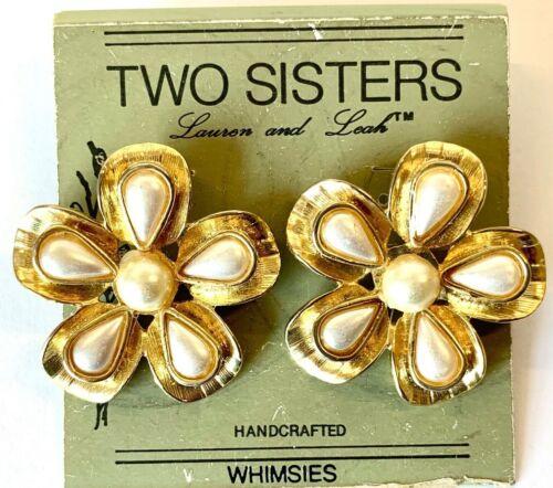 Two Sisters Faux Pearl & Gold Tone Flower Earrings, Pierced Earrings, NOS, VTG