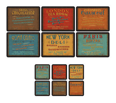Pimpernel Lunchtime Placemats & Coasters Set of 6 Retro Design Table Drink Mat