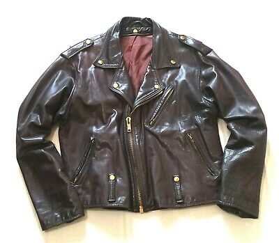 "VINTAGE "" CORDOVAN "" LEATHER PERFECTO STYLE JACKET - L - BIKER ROCKABILLY -1950s"
