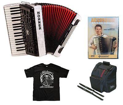 Hohner Bravo III 96 White Piano Accordion Acordeon +Lesson DVD_Bag_Straps_Shirt