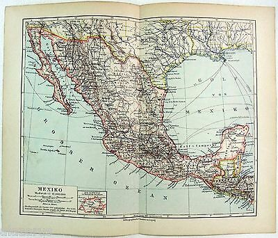 Original German Map of Mexico in 1900