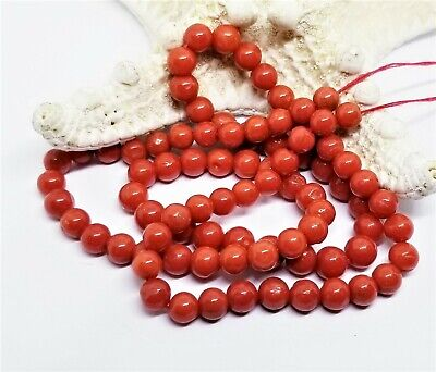 "86 RARE NATURAL MEDITERRANEAN ITALIAN ORANGE RED CORAL ROUND BEADS 5.5-6mm 18"" for sale  Shipping to India"