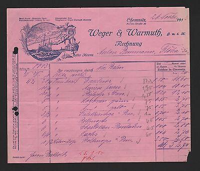 CHEMNITZ, Rechnung 1913, Weger & Warmuth GmbH