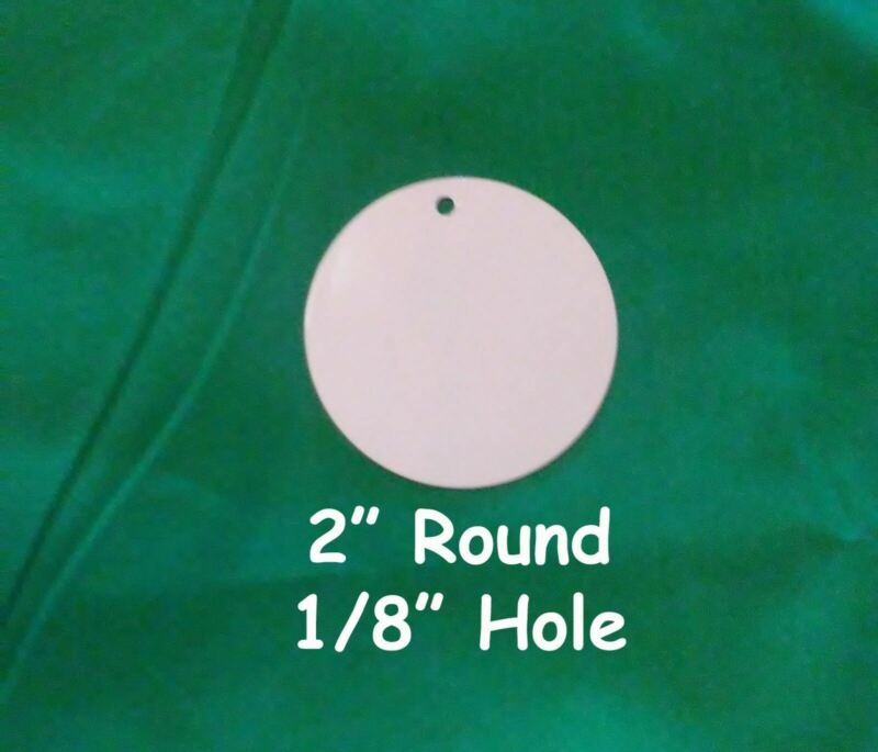 """2"""" Round, Dye Sublimation Aluminum Blank Disc/Insert with 1/8"""" Hole- 50PC lots"""