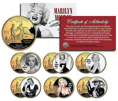 MARILYN MONROE MOVIES California Quarters 6-Coin Set LICENSED * All About Eve *