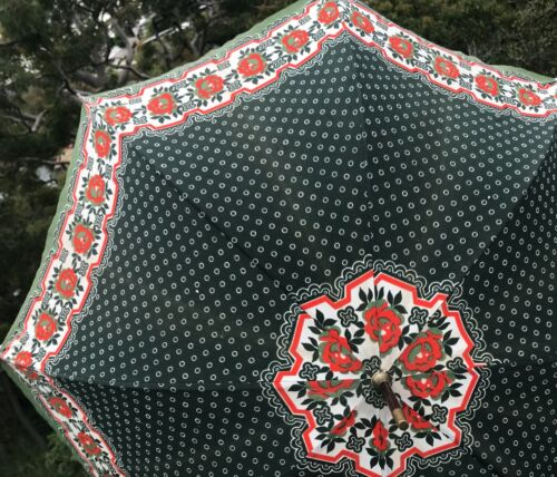 Vintage Umbrella Leather Handle Good Quality Floral and Spots Green Red White