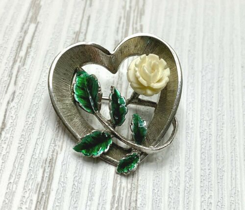 Vintage Signed Beau Sterling Silver Brooch Pin Heart Carved Celluloid Rose Retro