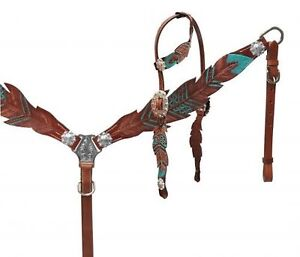 Showman Cut- Out TEAL Painted Feather Headstall & Breast Collar Set! HORSE TACK!