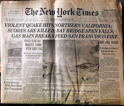 San Francisco Earthquake 1989 New York Times October 18 Bay Area World Series