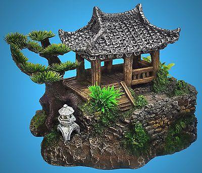TOP Aquarium Deko 🍀 CHINA GARTEN HAUS 🍀 mit Höhle Pflanzen Dekoration Zubehör (Aquarium Dekoration Garten)