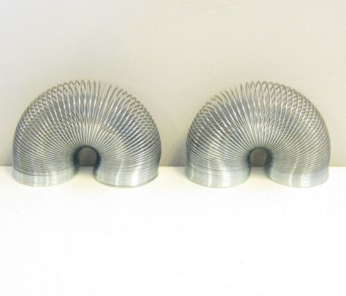 """2 NEW SILVER METAL COIL SPRINGS CLASSIC KIDS TOY 2"""" SIZE COIL SPRING PARTY FAVOR"""
