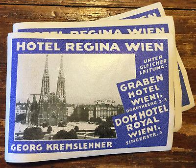 Antique HOTEL REGINA WIEN Vienna Austria Luggage Label: Georg Kremslehner