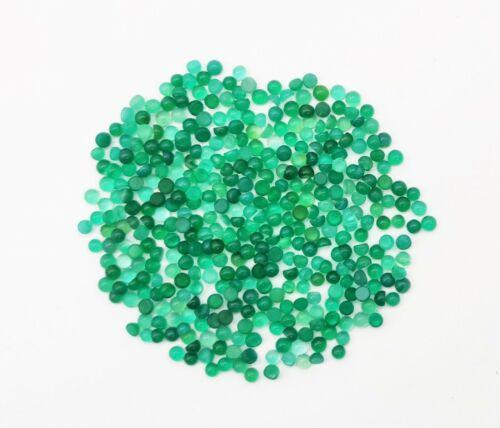 Natural Green Onyx Round Cabochon Loose Gemstone Lot 100 Pcs 3.25 MM