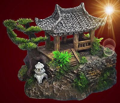 Aquarium Deko ❤️ CHINA GARTEN HAUS GR.M ❤️ mit Höhle Barsche Dekoration Zubehör (Aquarium Dekoration Garten)