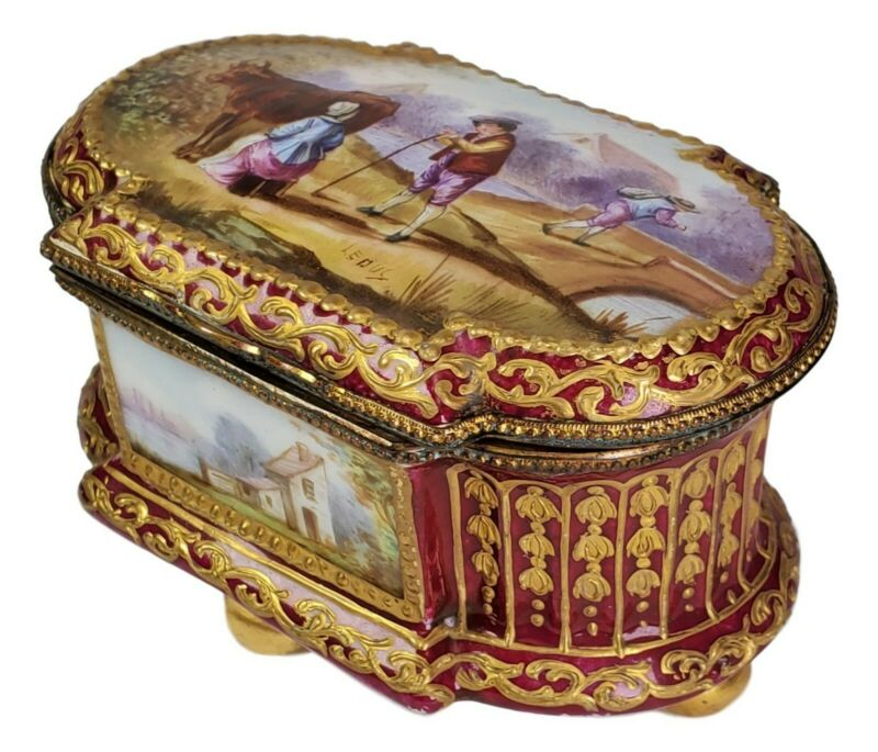 Sevres Hand Painted Porcelain Magestic Red Gold Country Life Scenes Box c.1804