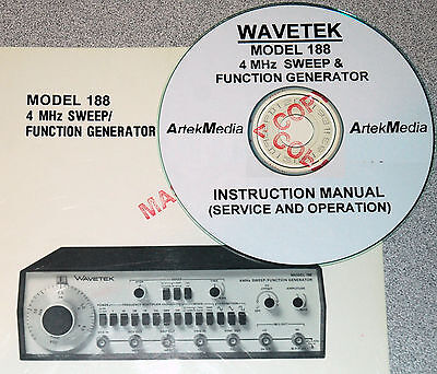 Wavetek 188 4mhz Sweep Function Generator Instruction Ops Service Manuals