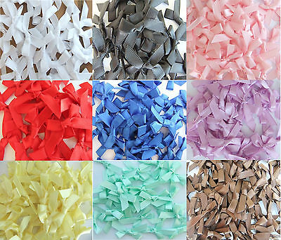 100 7mm Satin Ribbon Bows For Wedding Invitation Card Making Choice 25 Colours